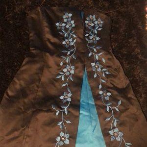 Black and blue short formal dress